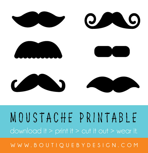 image about Printable Moustaches named Free of charge Moustache Obtain Printable